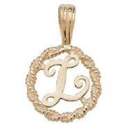 9ct Gold Round rope edged Initial letter L pendant 0.8g